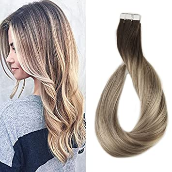 Amazon.com : Full Shine 14 inch Tape in Hair Extensions Human Hair ...