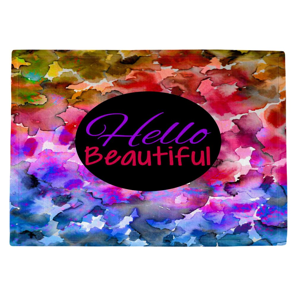 DIANOCHEキッチンPlaceマットby Julia Di Sano Hello Beautiful Set of 4 Placemats PM-JuliaDiSanoHelloBeautiful2 Set of 4 Placemats  B01EXSI9YS