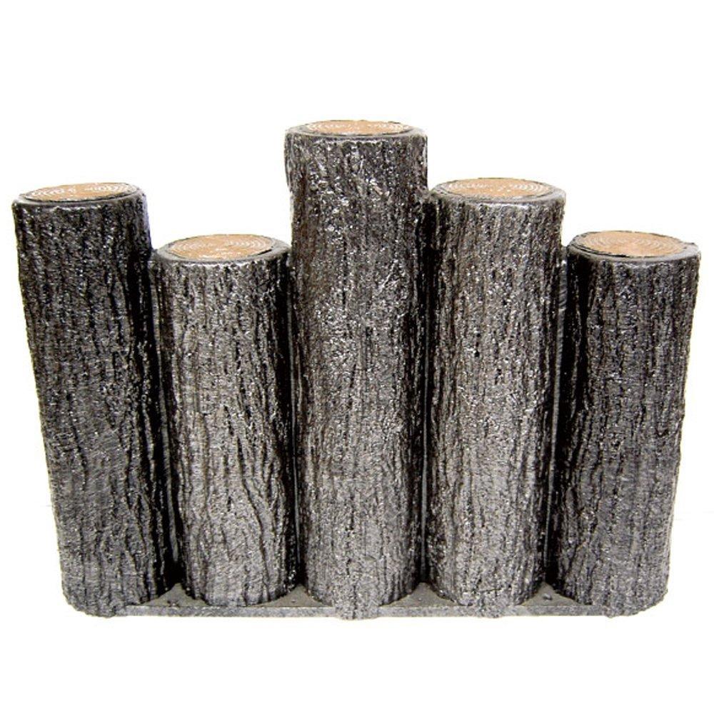 サンポリ 樹脂製擬木はなえ80φ 5連段違い杭タイプ H300 (5本セット) B00V8J5IPY 5本セット  5本セット