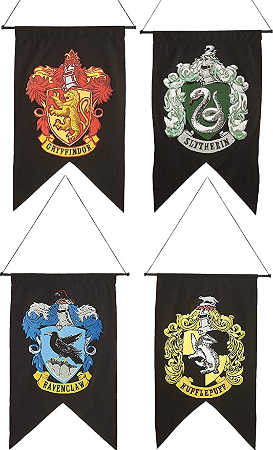 New Harri Potter Banner Hogwarts School Harry Party Supplies College Flag Banners Gryffindor Slytherin Ravenclaw Kids Gift Toys Toys & Hobbies