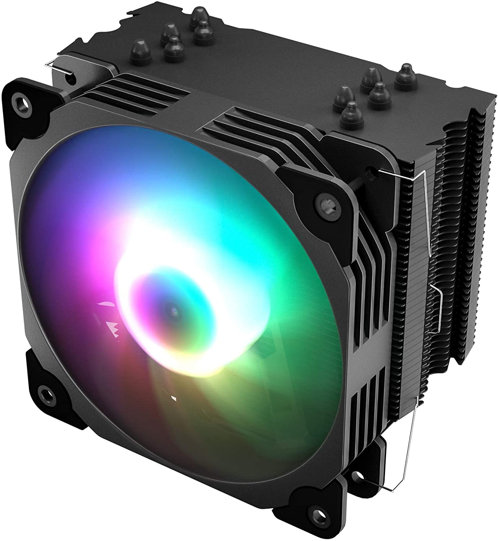Vetroo V5 CPU Air Cooler w/ 5 Heat Pipes 120mm PWM Processor Fan Intel LGA 1200 115X / AMD Ryzen AM4 Universal Socket w/Addressable RGB Lights (V5, Black)
