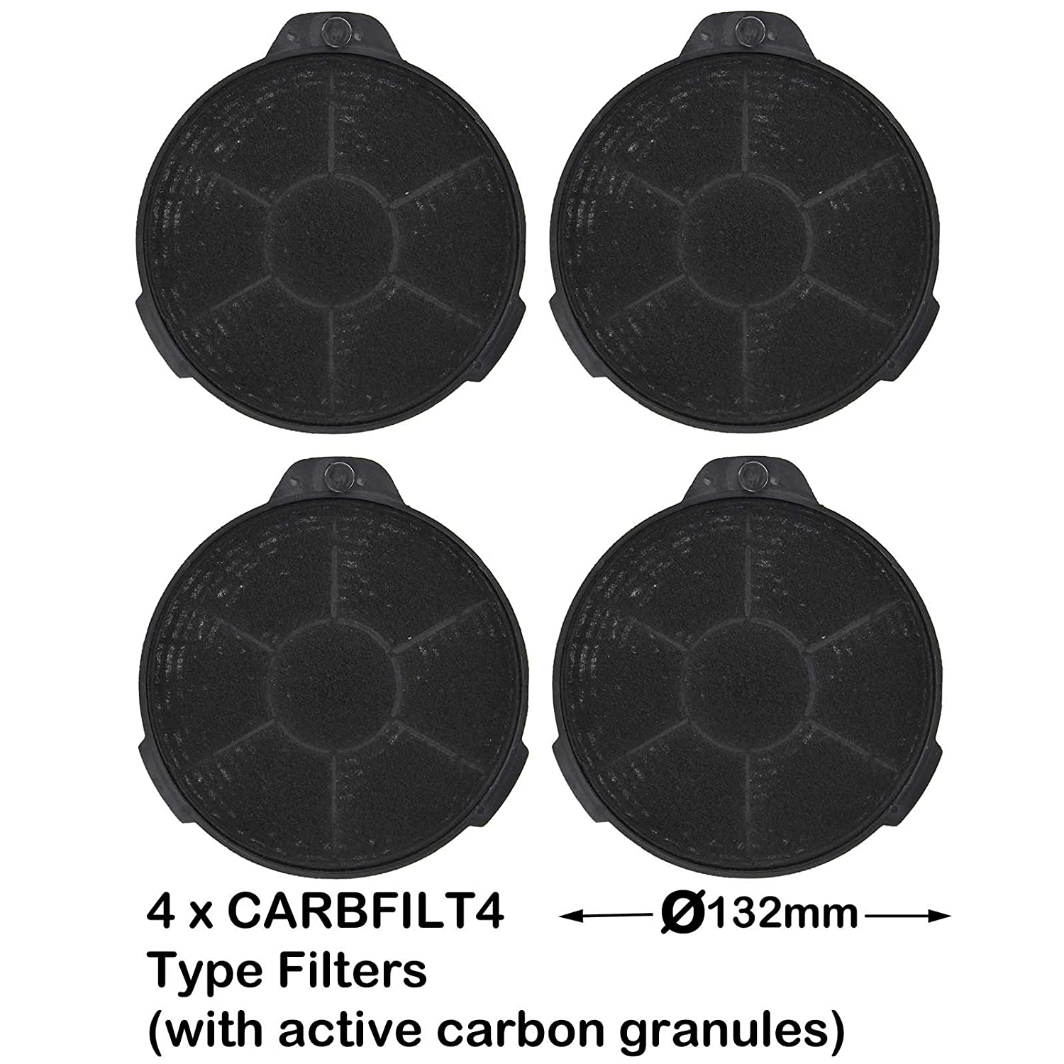 SPARES2GO Carbon Charcoal Vent Filter for B&Q CATA Extractor Cooker Hood (Pack of 4)