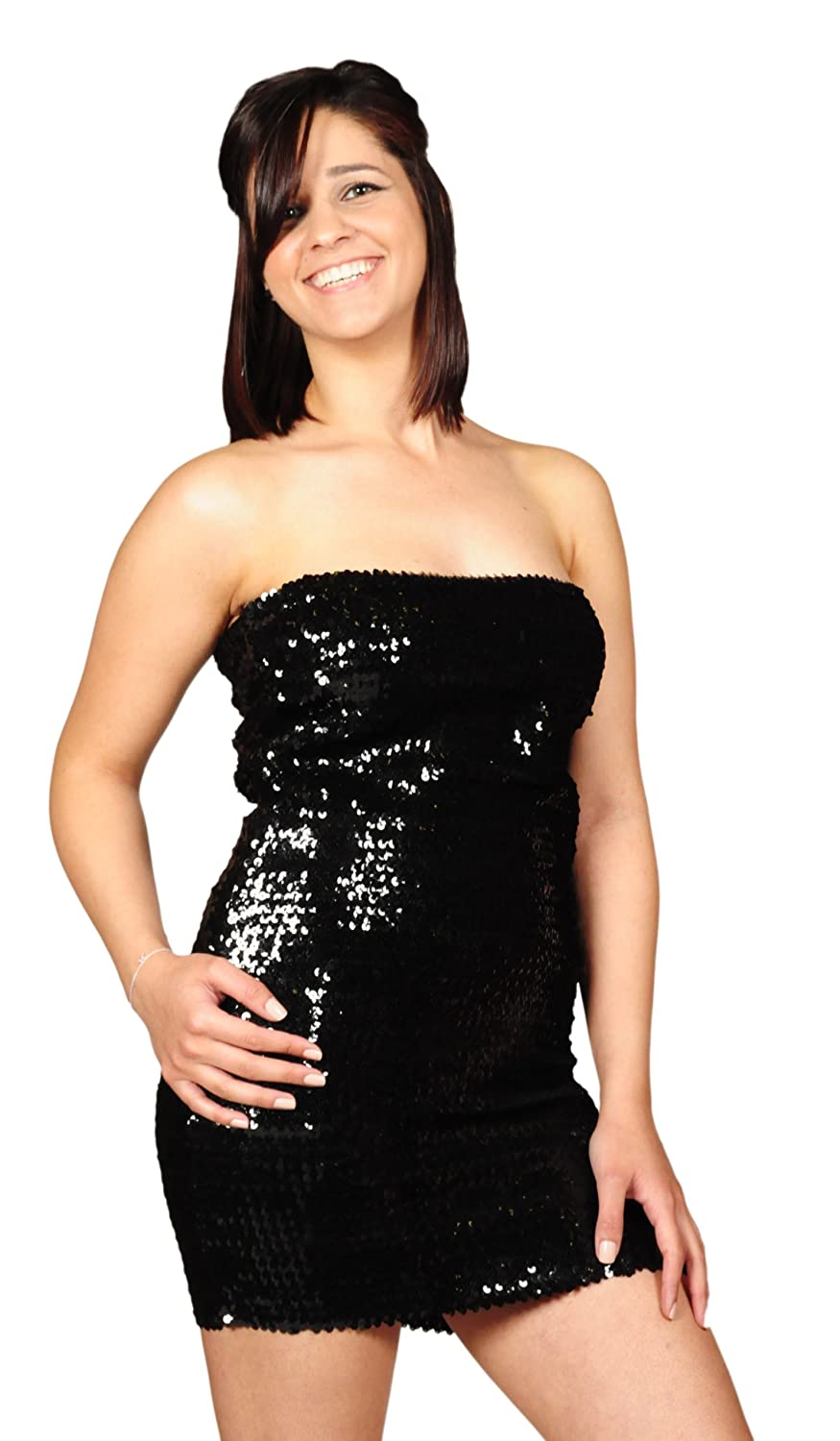 ce0a15fe39b2 Amazon.com: Pearl Women's Exotic Sexy Sparkly Sequin Tube Dress - BLACK:  Clothing