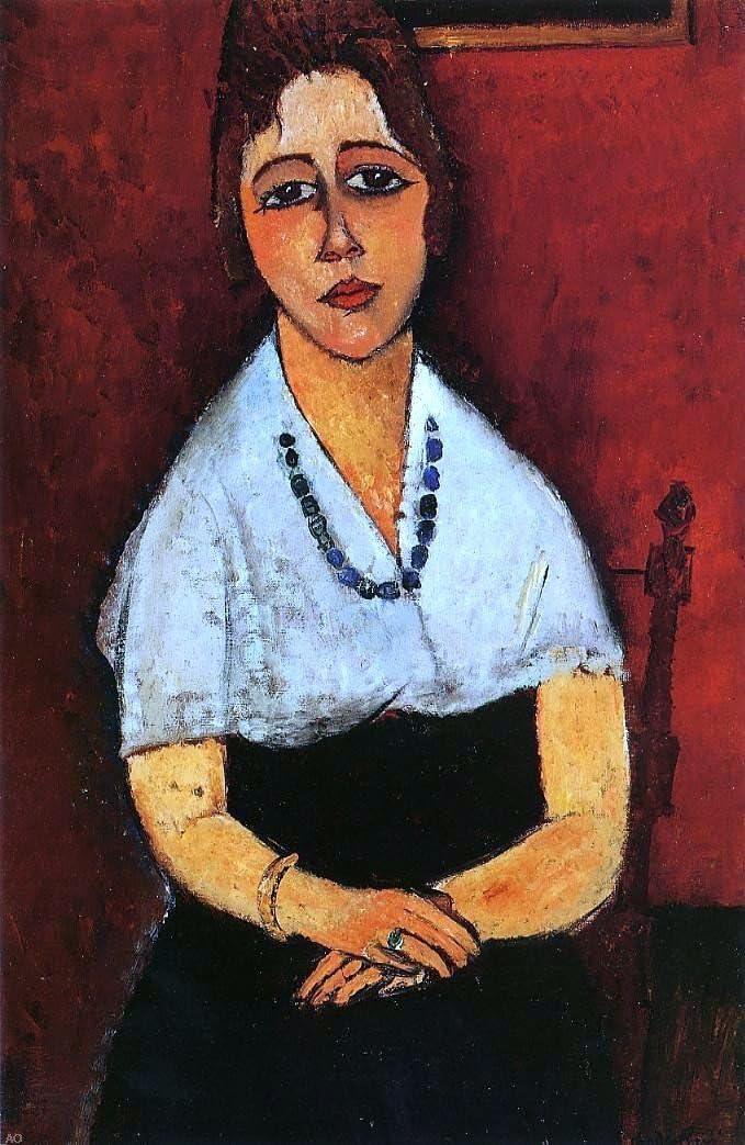 "Amazon.com: Amedeo Modigliani Elena Picard - 18"" x 27"" Premium Canvas  Print: Posters & Prints"