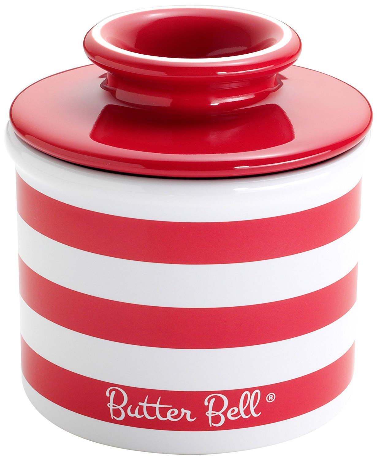 Butter Bell - The Original Butter Bell Crock by L. Tremain, French Ceramic Butter Dish, Striped Collection, Candy Apple Red