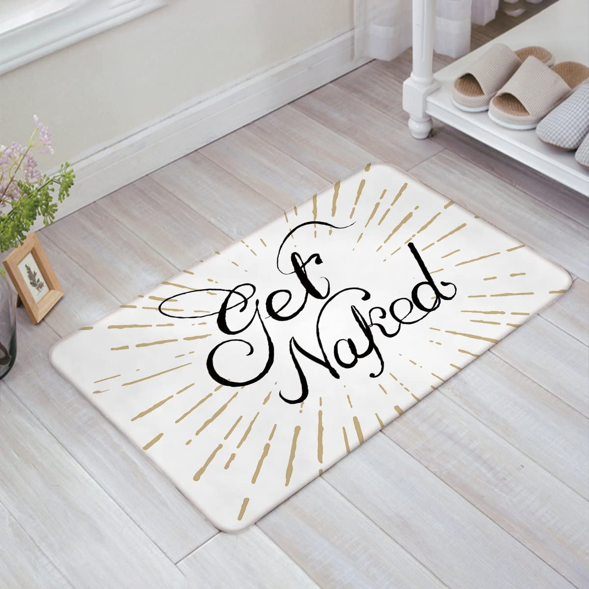 Beach Theme Indoor Doormat Front Door Mat, The Beach Is My Happy Place-Rustic Wooden Plank Board Sign with Starfish Welcome Mat Entrance Door Mat Non-Slip Floor Mat, Soft and Low Profile 20 x 31.5