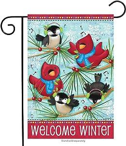 "Briarwood Lane Winter Songbirds Primitive Garden Flag Cardinals Chickadees 12.5"" x 18"""