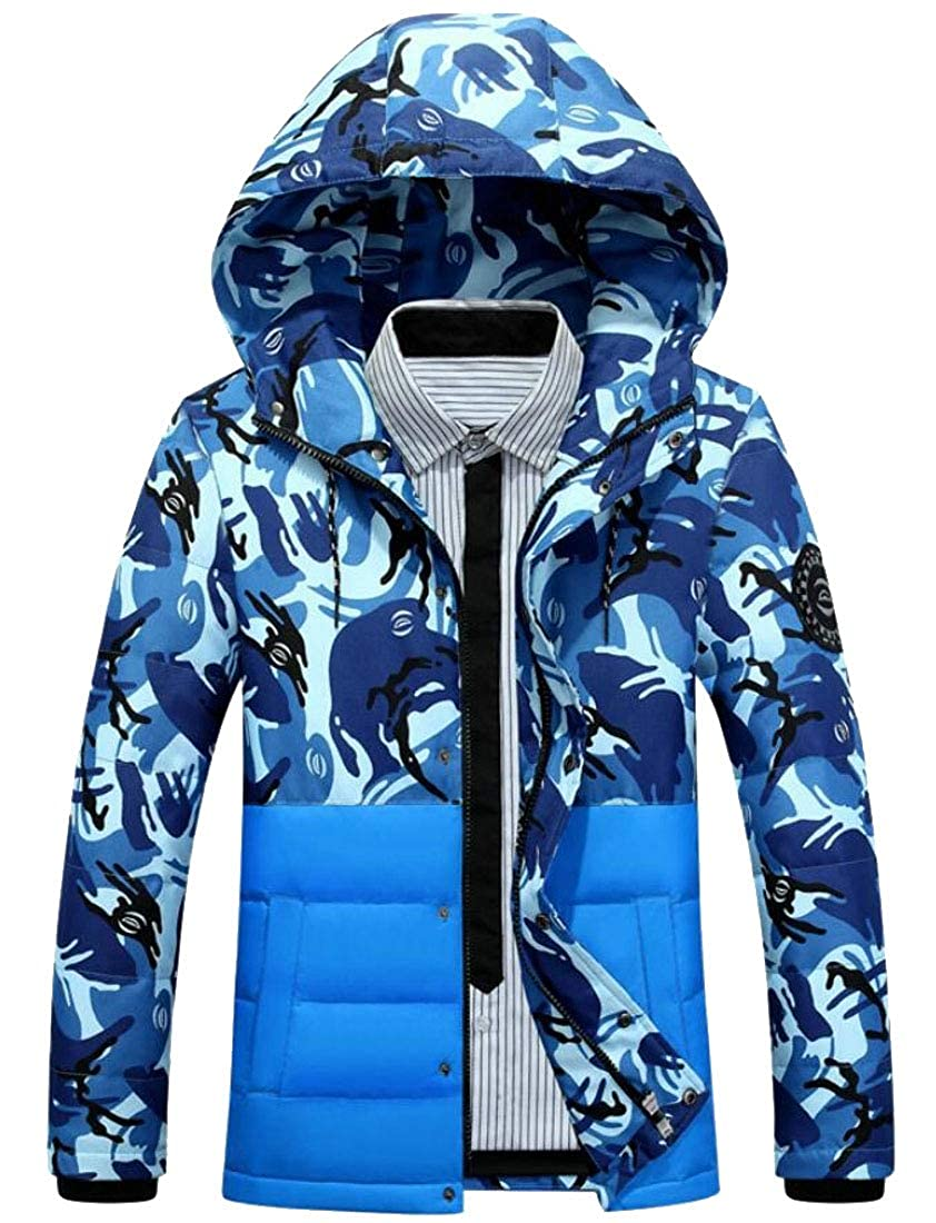 omniscient Men Hooded Quilted Camo Thicken Outdoor Puffer Down Jacket