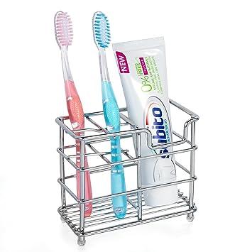 M SANMERSEN Dientes Soporte, Acero inoxidable portacepillos de dientes soporte para cepillos de dientes pasta