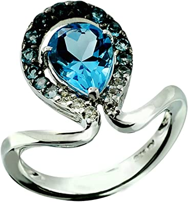 RB Gems Sterling Silver 925 Ring London Blue Topaz 2.09 Carats with Rhodium-Plated Finish