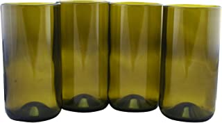 product image for Tumbler Drinking Glasses Made From Recycled Wine Bottles 16 OZ - set of 4 (Topaz, 16 Oz)