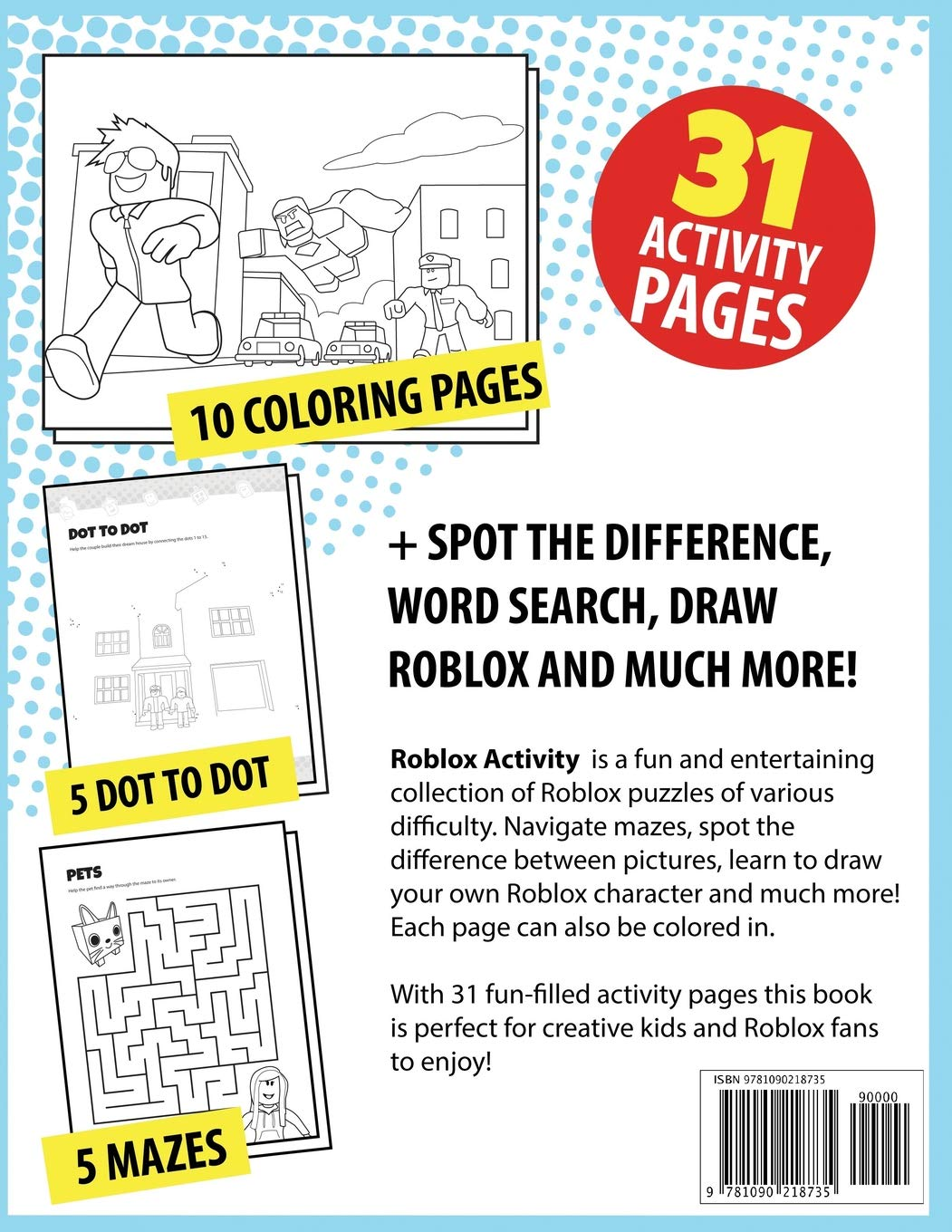 Roblox Activity: Coloring pages, mazes, dot to dot, spot the
