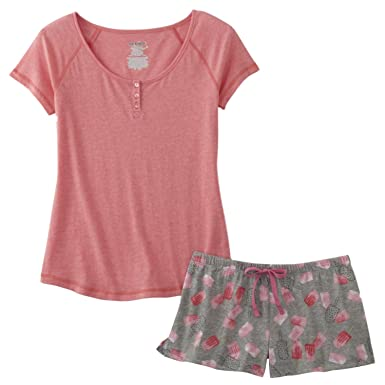 1021b5146 Junior Womens Pink & Gray Popsickle Pajamas Ice Cream Shorts & Shirt Sleep  Set M. Roll over image to zoom in. Joe Boxer