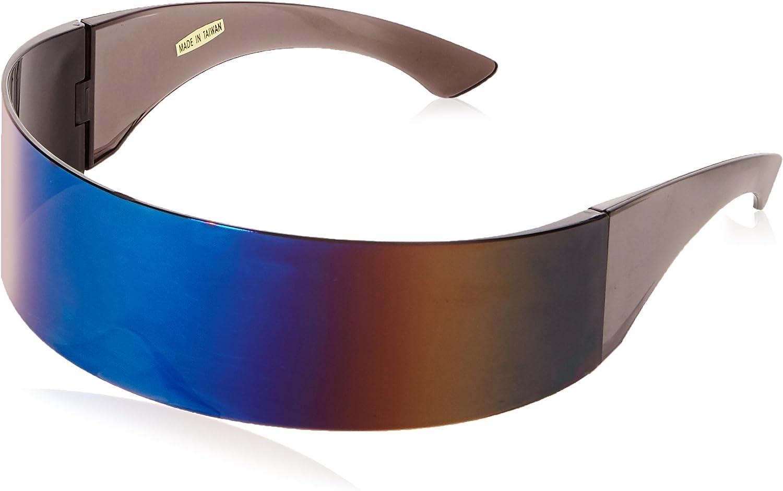 zeroUV - 80s Futuristic Cyclops Cyberpunk Visor Sunglasses with Semi Translucent Mirrored Lens