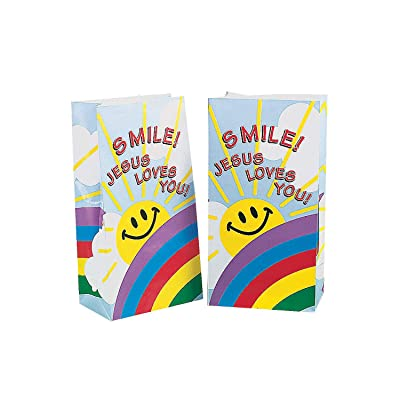 Fun Express - Smile! Jesus Loves You Paper Bags for Party - Party Supplies - Bags - Paper Treat Bags - Party - 12 Pieces: Toys & Games