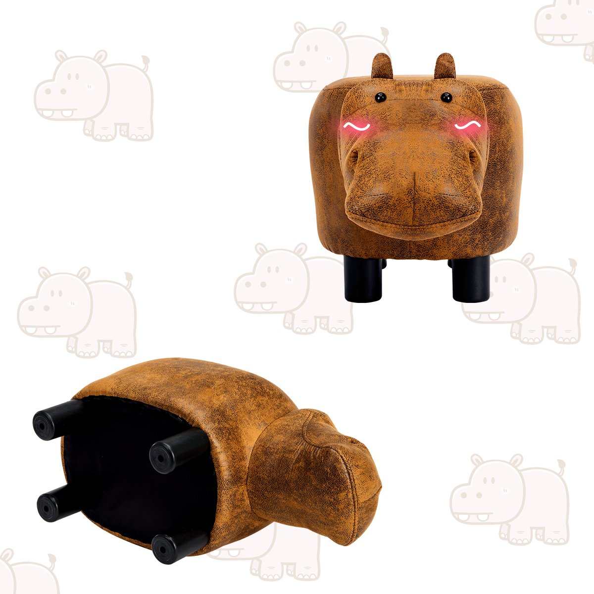 Guteen Upholstered Ride-on Toy Seat Ottoman Footrest Stool with Vivid Adorable Animal-Like Features(Brown Hippo) by GUTEEN (Image #6)