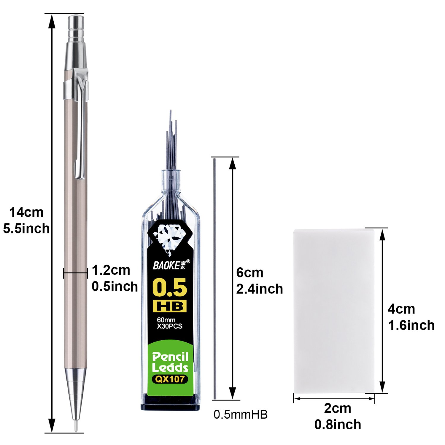 15 Pieces Mechanical Pencil Set 0.7 mm 6 Pieces Mechanical Pencils and 6 Tubes Lead Refills with 3 Pack Erasers for Office and School Assorted Colors