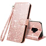 LK Case for Galaxy S9,[Wrist Strap] Luxury Glitter Sparkle PU Leather Wallet Protective Case Cover with Card Slots and Stand for Samsung Galaxy S9 (Rose Bling)