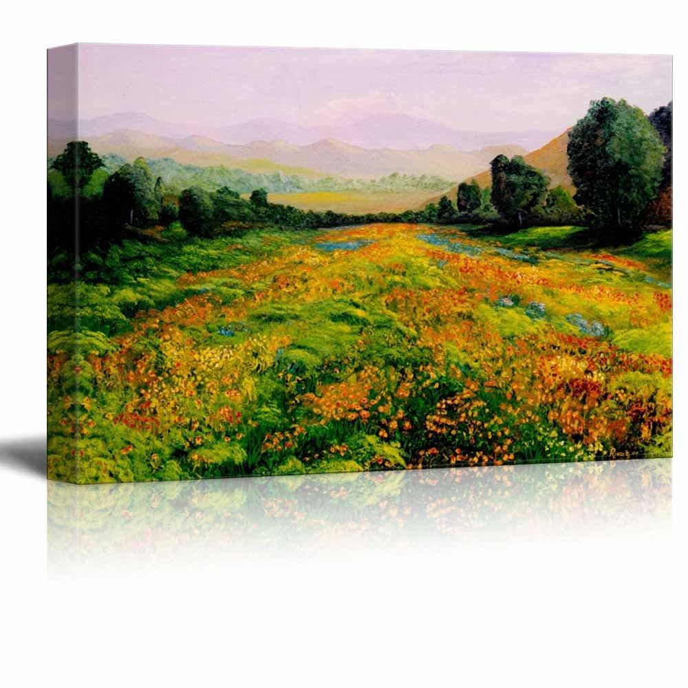 Beautiful scenery landscape of sprint valley with colorful wild beautiful scenery landscape of sprint valley with colorful wild flowers in oil painting style izmirmasajfo