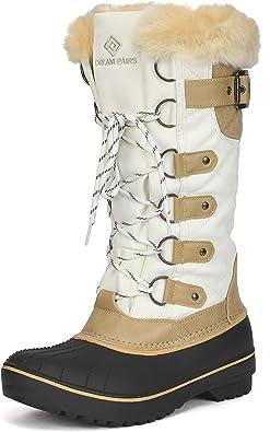 Inornever Womens Flat Snow Booties Wedges Hidden Fur Warm Winter Ourdoor Mid Calf Boots Two Way Wear