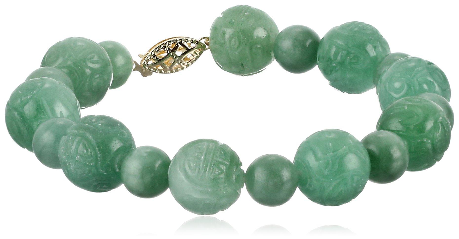 14k Yellow Gold Green Jade Carved Bead Strand Bracelet