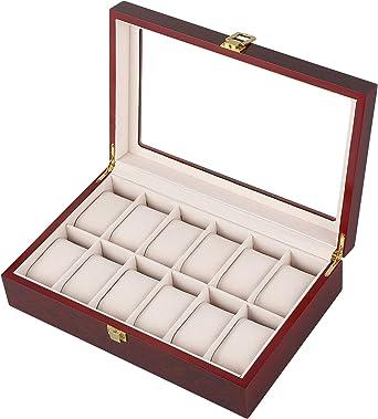 Caja de madera con 12 ranuras para relojes, joyería, caja de almacenamiento, bandeja para pulsera con almohadas suaves extraíbles: Amazon.es: Relojes