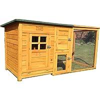 feelgooduk hühnerhaus met één dak Volledig openen – mooi Model met geïntegreerde Loop en reinigungsanwendungen en nacht deur – ch14 Natural
