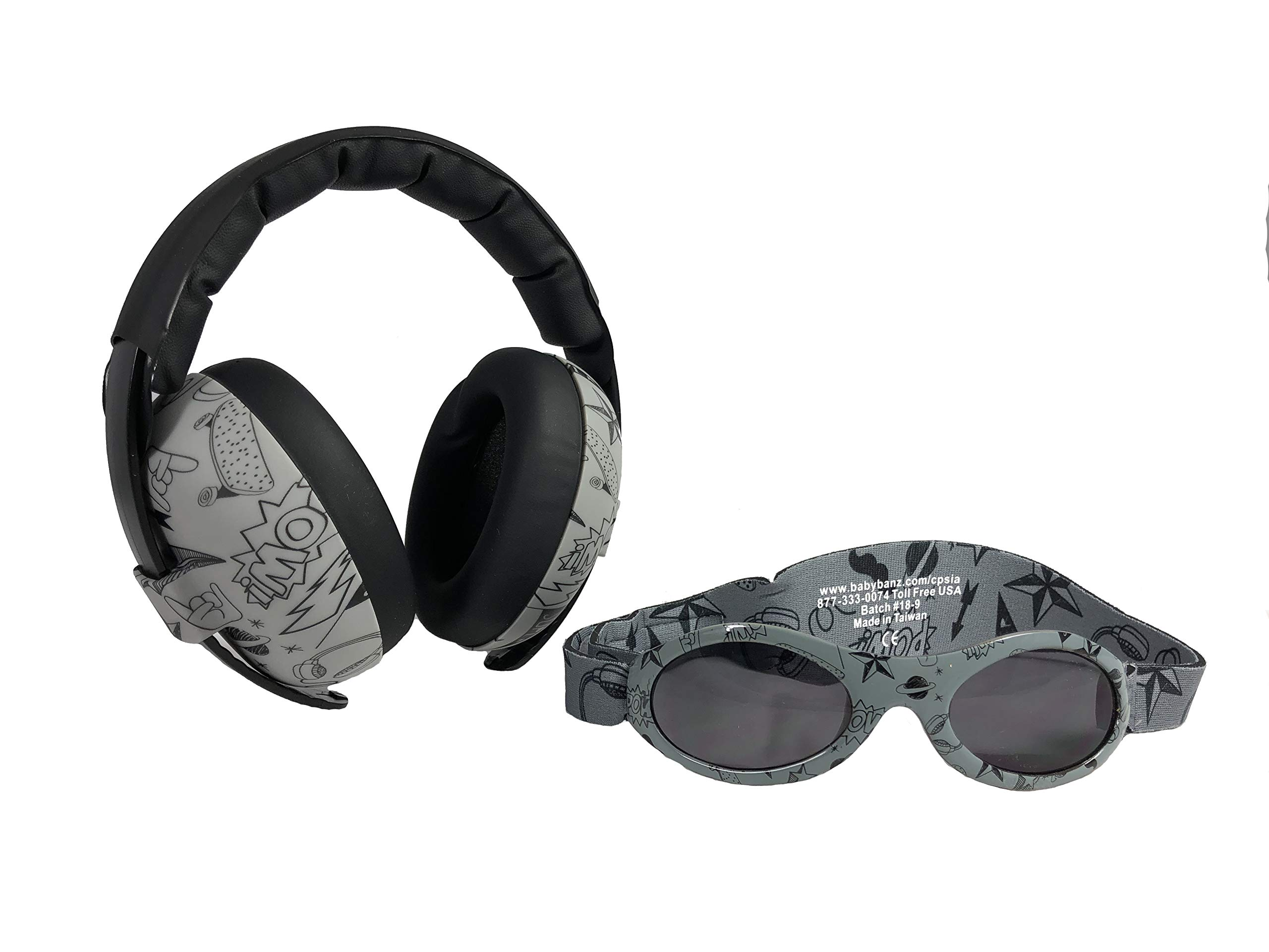 Baby Banz Earmuffs and Infant Hearing Protection and Sunglasses Combo 0-2 Years (Grey Doodle)