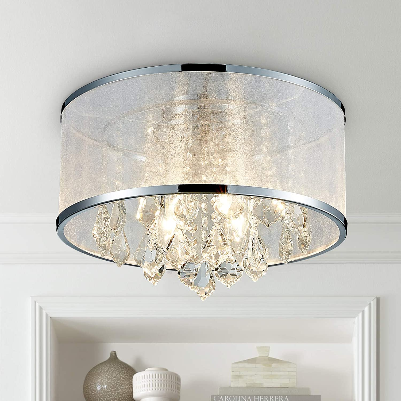 colgante cristal 4 Montaje de Lámpara empotrado Comedor Habitación techo de la Lámpara de tambor Iluminación techo lámpara Moderno de Baño LED Salón 34c5RAjqL