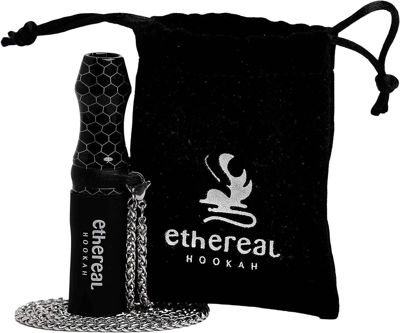 Ethereal Hookah Boquilla Premium reutilizable para Cachimba | Exclusivo accesorio para tu Shisha | Fabricada en Resina y Silicona | Incluye colgante de acero y bolsa de terciopelo (Negro)