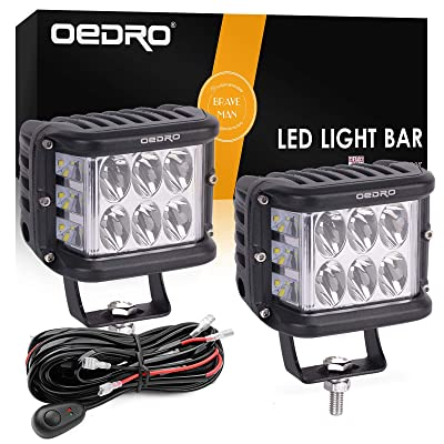oEdRo Side Shooter LED Lights 2Pcs 4 Inch 60W Dual Row LED Pods Off Road Spot Flood Combo Beam Dual Side Cubes Work Light Driving Fog Lights Fit for Trucks Jeep ATV SUV Boat, with Wiring Harness: Automotive