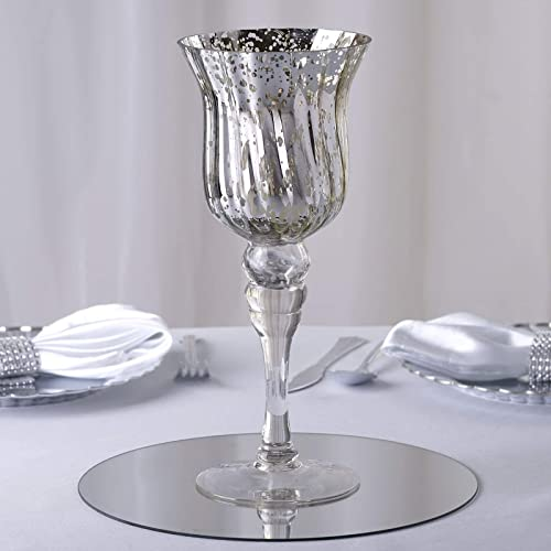 Efavormart 11 Tall Silver Mercury Glass Candle Holder Vase – 4 Pcs
