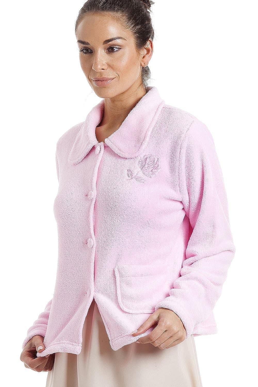 Camille Womens Ladies Light Pink Supersoft Fleece Zip Up Bed Jacket