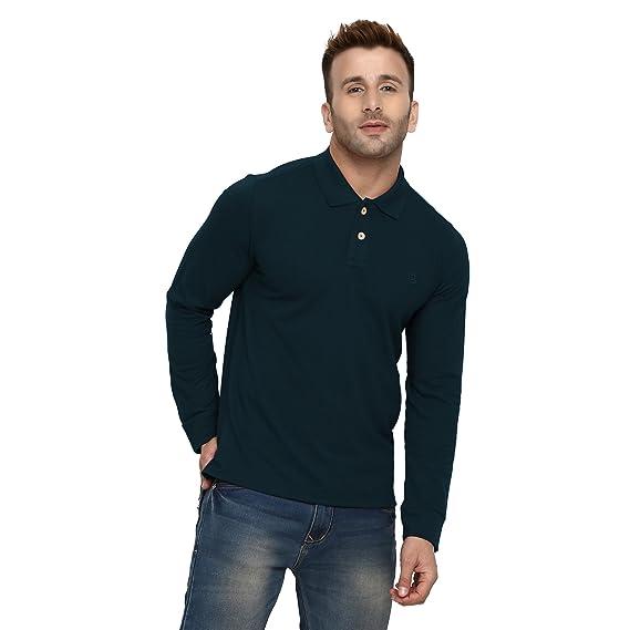 8ab30c807b98 CHKOKKO Men's Cotton Polo Neck Full Sleeves Plain T Shirt (Indigo, Small)