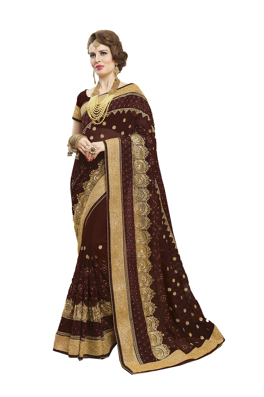 Indian Sarees For Women Wedding Designer Party Wear Orange Traditional Sari