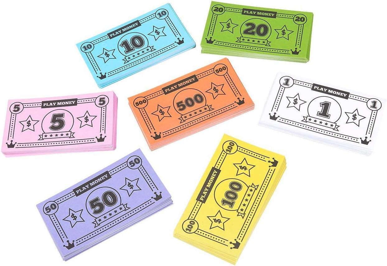 Blue Panda Play Money for Kids: $44,590 en reemplazo de dinero del juego de mesa, billetes de dólar simulados, 455 billetes en total, 65 de cada denominación, billetes pequeños, 4 x 2.2