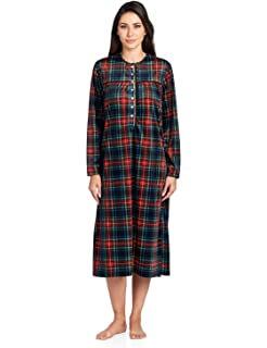 7b0affeffc Ashford   Brooks Women s Flannel Plaid Long Sleeve Nightgown ...