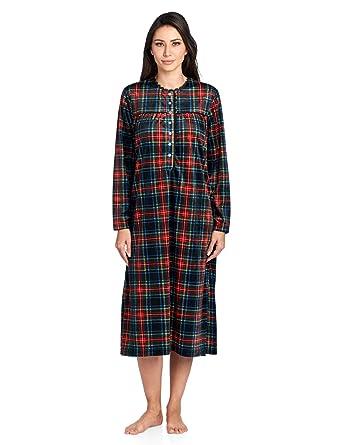 Ashford   Brooks Women s Mink Fleece Long Sleeve Nightgown - Black Stewart  Plaid - Small 5bf991839