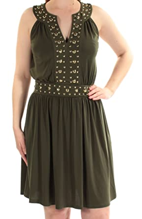 9120c495fdf Michael Michael Kors Women s Split Neck Dome Studded Accented Band Shift  Dress (X-Large
