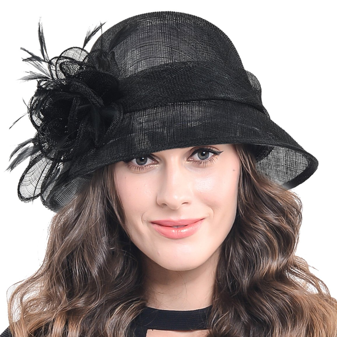 FORBUSITE Occasion Church Wedding Sinamay Cloche Hats for Women SM122 (Black) by FORBUSITE (Image #5)