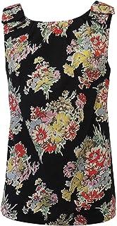 Neuf Femmes Rétro style Vintage VTG Années 1950 style Floral Noir Tunique  Chemisier e540d829d293