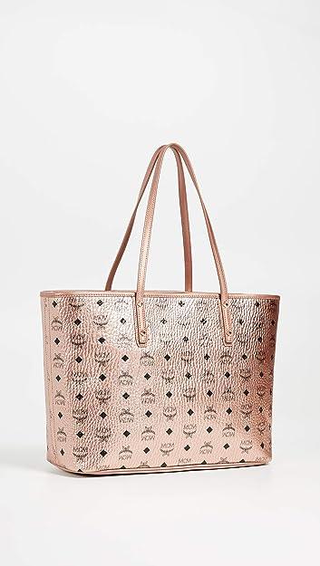 795db832a4d MCM Womens Anya Shopper Top Zip Shopper Medium Champagne/Gold One ...