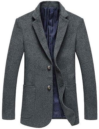 abb9c61a8f0a Herren Wintermantel Einreihig 2-Knöpfe Tweed Blazer Jacke Wollmantel  Freizeit Business