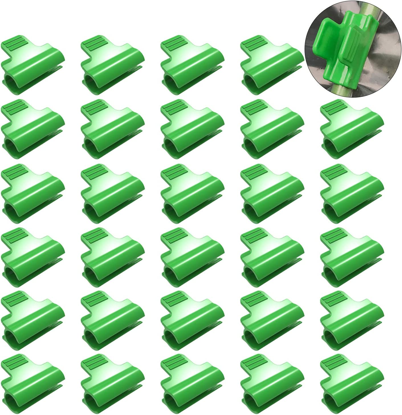 Sirozi 30 Pack Greenhouse Row Cover Clips, Greenhouse Netting Tunnel Hoop Clamps Extension Shed Film Frame Shading Net Rod Clip for 11mm/0.43 Plant Stakes