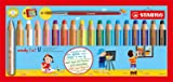 STABILO 880/18-3 Woody 3-in-1 Multi-Talented Pencil with Sharpener and Paint Brush - Assorted Colours, Wallet of 18