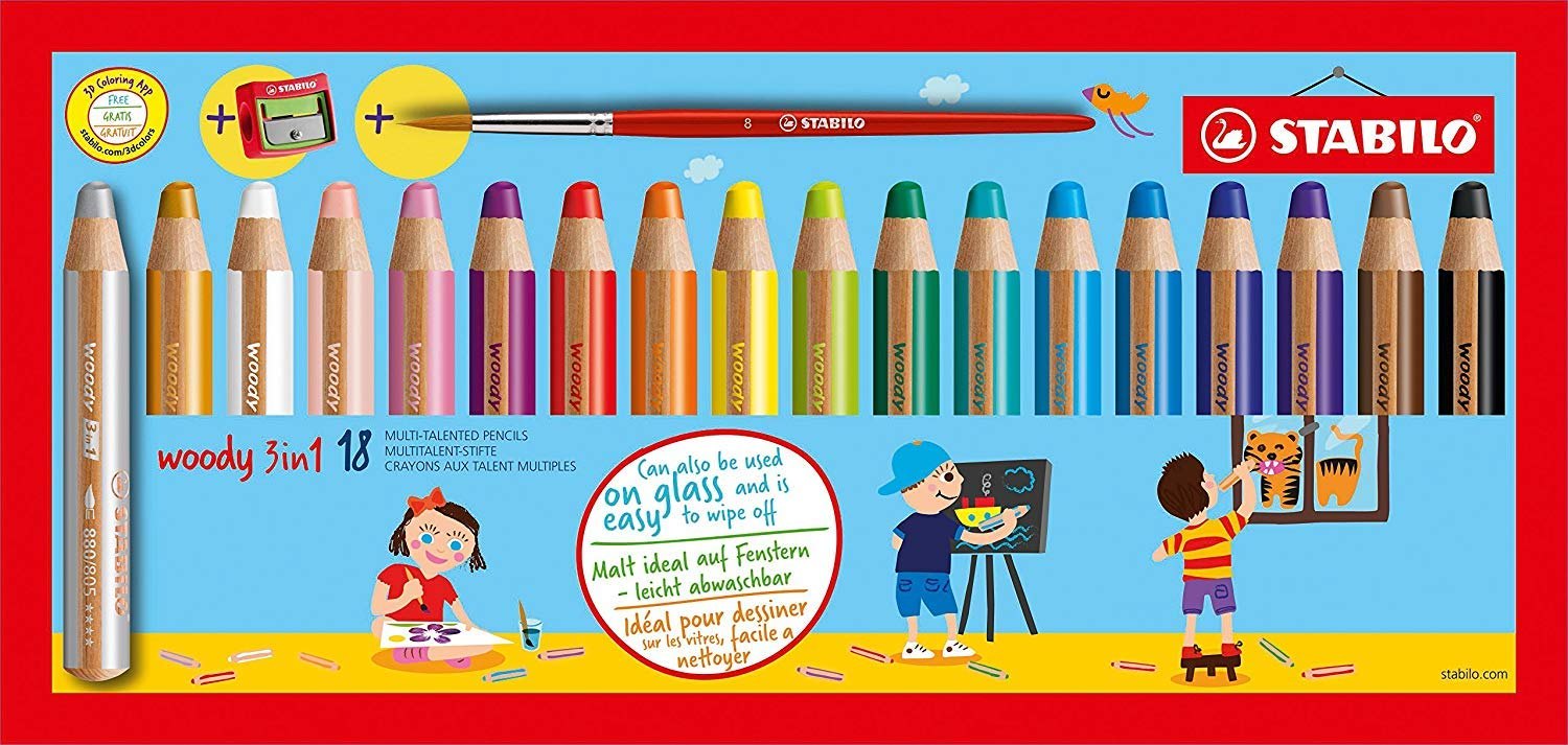 STABILO Woody 3-in-1 Multi-Talented Pencil with Sharpener and Paint Brush - Assorted Colours, Wallet of 18 by STABILO