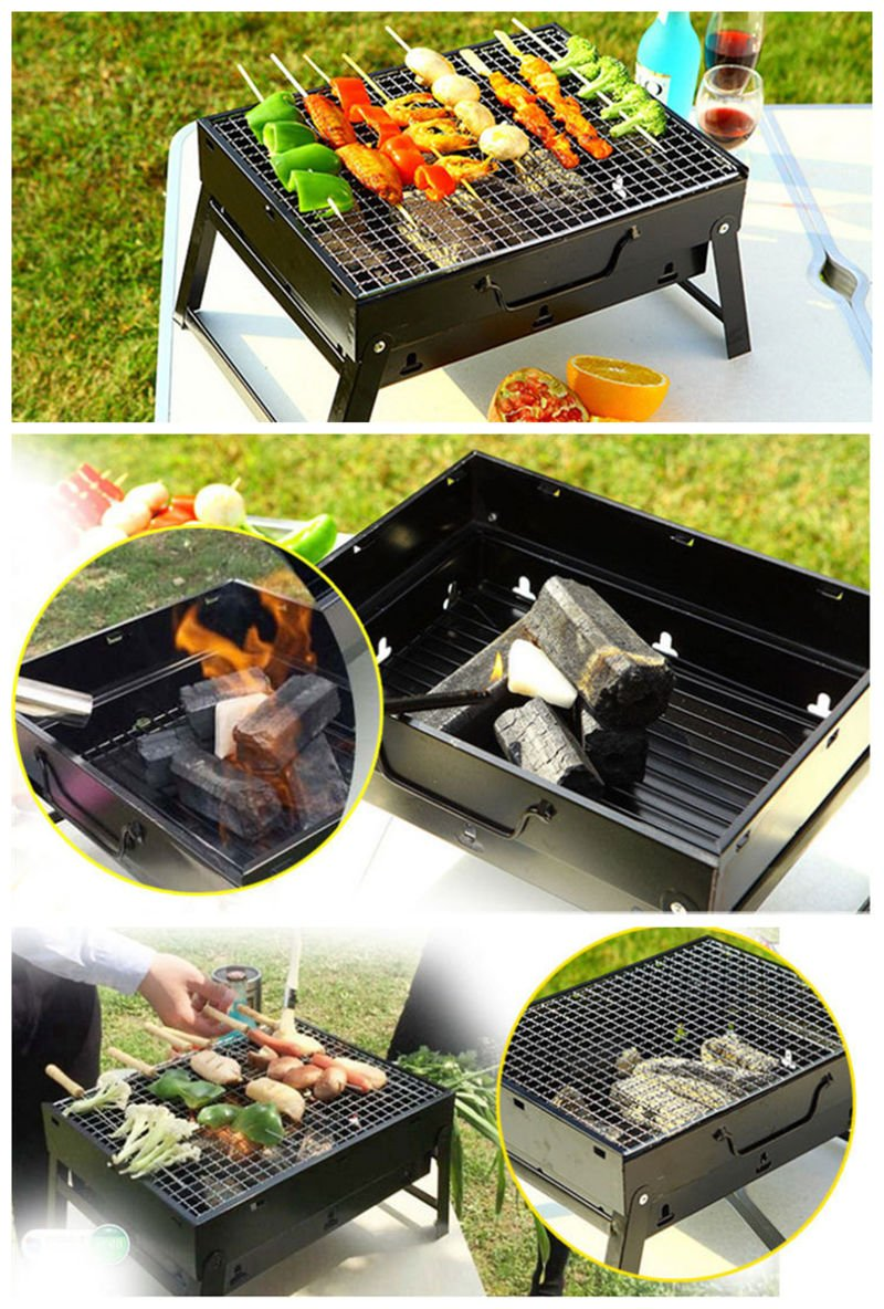 Portable Charcoal BBQ Foldable Barbecue Travel Picnic Outdoor Garden Yard Camping Grill Tools Fit for 1-3 People BBQ-2