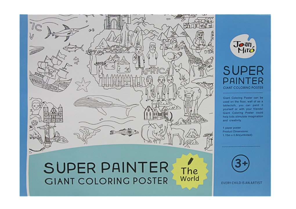 Giant Coloring Poster Wall Size Coloring Book Wall Decal Huge Coloring Page  Oversize The World Theme Poster Doodle Art for Kids Children Adults Family  ...