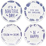 "Begonia Home 8"" Blue Ceramic Dessert Salad Plates with Sayings (Set of 4) Dishwasher and Microwave Safe, Best Gift, Multicolor"