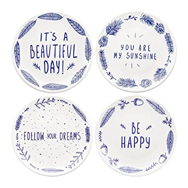 Begonia Home 8  Blue Ceramic Dessert Salad Plates with Sayings (Set of 4) Dishwasher and Microwave Safe, Best Gift, Multicolor